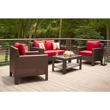 Outdoor Cushions Sunbrella Home Depot by Hampton Bay Beverly 4 Piece Patio Deep Seating Set With Cardinal