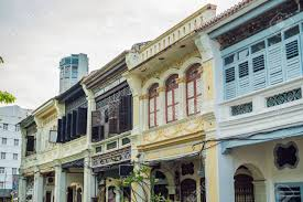 100 Houses In Malaysia Old The Old Town Of Georgetown Penang Stock