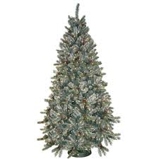 Pre Lit Flocked Christmas Tree by General Foam 7 5 Ft Pre Lit Siberian Frosted Pine Artificial