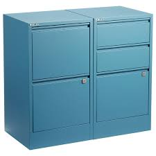 Bisley Blue 2 & 3 Drawer Locking Filing Cabinets