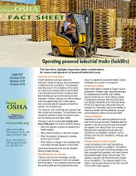 100 Powered Industrial Truck Operating Powered Industrial Trucks Forklifts By The Oregon