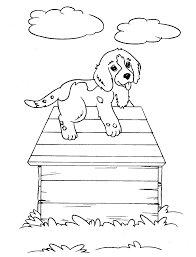 Puppies Coloring Pages On The House