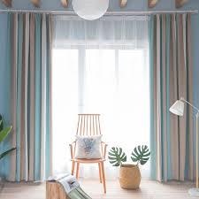 moden vorhang hellblau streifen design im wohnzimmer zu