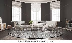 skandinavisch minimalist wohnzimmer mit sofa sessel