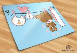 stickers fil a linge ours sur la corde à linge
