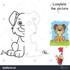 Complete The Picture Children Drawing Game Coloring Book Cartoon Vector