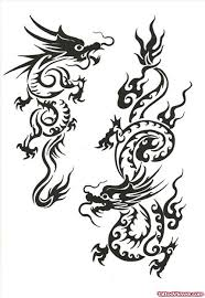 Tribal Chinese Dragon Tattoos Design