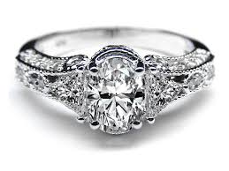 Engagement Ring Vintage Style Oval Diamond 072 Tcw In White Gold ES262