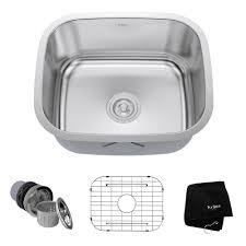 Home Depot Kitchen Sinks In Stock by Kraus Undermount Stainless Steel 21 In Single Bowl Kitchen Sink