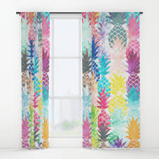 Tropical Window Art Curtains pineapples window curtains society6
