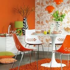 Orange And White Dining Room Decor With 60s Style Decoration