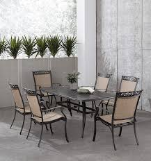Hanover Fontana 7-Piece Dining Set With 6 Sling Chairs And A 38-in. X  72-in. Cast-Top Table, FNTDN7PCC Outdoor Furniture, Tan Ding Table 6 Chairs New 5 Piece Table Set 4 Chairs Glass Metal Kitchen Room Fniture Kitchen Simple Ding And Chair Set Black Incredible Size Medida Para Mesa Em Http And Ikea Clearance White Gloss Lenoir Brasilia Style Senarai Harga Homez Solid Wood C 38 Ww T Small Extending Tables Unique Elegant Square New Transitional 7pc Deep Finish Uph Seat Grand Mahogany Hard 68 Seater Kincaid Mill House With Monaco Rectangular Outdoor Patio Office Computer Chair Cover Task Slipcover