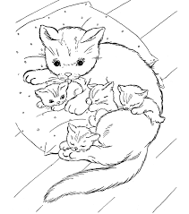 Printable Family Cat Coloring Pages