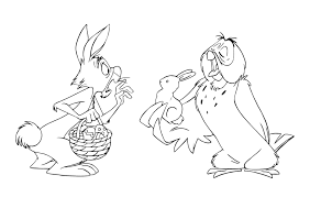Owl And Rabbit Easter Coloring Page