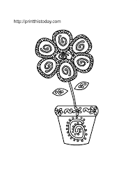 Flower In A Pot Coloring Page For Kids