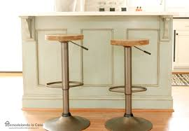 ASCP Duck Egg Blue Kitchen Island With Rustic Industrial Bar Stools