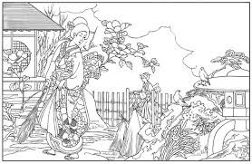 Japanese Garden Coloring Page Pages Japan 015 650x866