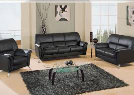 Your Cost Furniture Black Vinyl Sofa Loveseat & Chair