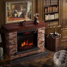 Corvus Stacked Stone Mantel Electric Flame Fireplace with Remote