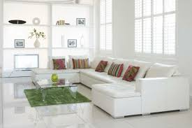 Floor Tiles White Corner Sofa Green Carpet Living Room