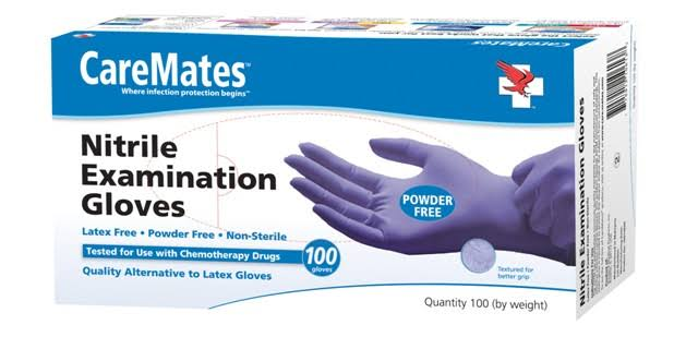 Caremates Nitrile Examination Gloves - Powder-free, Large, 100ct