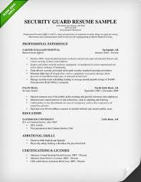 Security Guard Resume Sample 2015