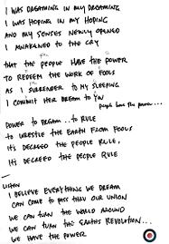 Five Horizons Tour Memorabilia for Pearl Jam Handwritten Lyrics