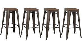 Amazon BTExpert 30 Inch Bar Stool Modern Solid Steel Stacking Industrial Rustic Metal With Wood Top Set Of 4 Kitchen Dining