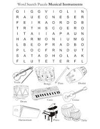 Word Search Puzzle Musical Instruments