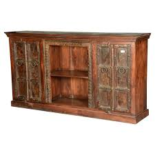 Gothic Traditional Rustic Reclaimed Wood Large Sideboard Cabinet