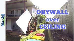 Popcorn Ceiling Patch Canada by See How To Drywall Over An Existing Ceiling Youtube