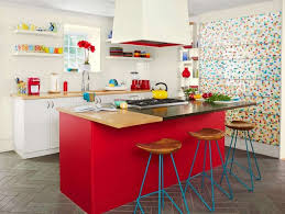 Red White And Blue Kitchen Decor With Unique Chairs