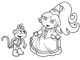 Dora Coloring Pages The Explorer Tryonshorts Free Online