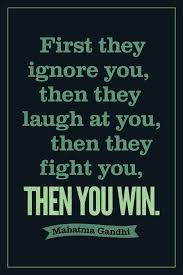 Kids Room First They Ignore You Then Laugh At Fight Win Mahatma Gandhi Motivational Black Poster For