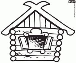 A Log House From Russia Girl With Traditional Russian Dress Coloring Page