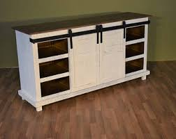 Rustic Style Solid Wood Barn Door White Sliding TV Stand Sideboard Console