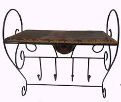 HANDICRAFT Wood Iron Made Antique Rectangle Shape Wall Shelf Wooden Number