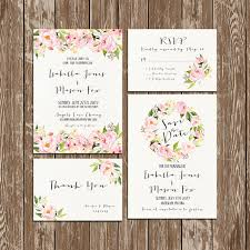Wedding Invitation Pink Floral Rustic Watercolor SetSuite