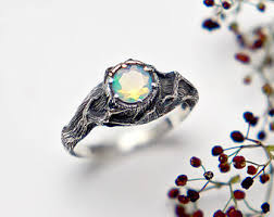 Opal Engagement Ring Rustic Jewelry Fire For Woman
