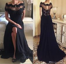 2017 Gothic Black Vintage Lace Prom Party Dresses A Line Bateau Short Sleeve Side Split Plus Size Long Chiffon Formal Evening Gowns High School