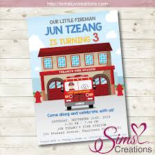 FIRE TRUCK BIRTHDAY INVITATION | FIREFIGHTER PARTY INVITATION ...