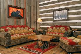 Outstanding Reclaimed Wooden Wall Panelling As Well Curved Back Seat Rustic Living Room Sofas Log Coffee Table On Red Rugs Decors