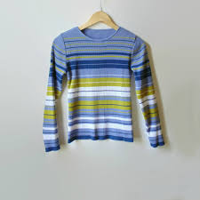Lavender Stripes Ribbing T Shirt Vintage Tee Long Sleeves 90s Womens Clothing