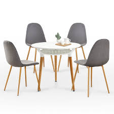 5PC Modern Dining Table Set Grey Fabric Cushion Dining Chairs & Round White  Dining Table 6090-9114EY+6090-Bsic-1TR Batavia Modern White Leatherette Ding Chair Set Of 2 Denzel Barto 7 Piece Table Jaden Walnut Modrest Rosario Rosegold Amazoncom Whiteline Living Dac1439wht Jasmine Chrome Side Chair Walnut White Set Of Aura Anjou Alexia Nika Contemporary Side Faux Leather