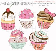 Clipart Cute Cupcake Clipart mercial Use Graphics Cute Cupcake Graphics Food Clipart Birthday Clipart Digital Download Clipart