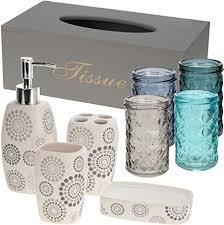 makeke deko box vintage badezimmer set 9 teilig bad accessoires taschentuch box in grau