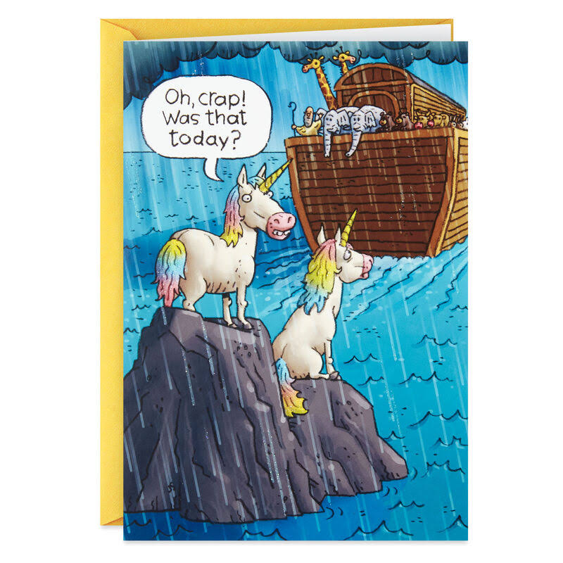 Noah's Ark Unicorns Funny Birthday Card