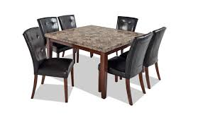 Montibello 54 X 7 Piece Dining Set 79900 Gray Marble Wirebrush Finish Brown White Dark Espresso