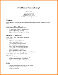 3 Basic Resume Examples Retail Cashier Resumes For Within