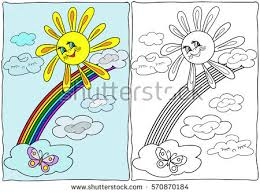 Coloring Book Summer Sun Rainbow Hand Drawn Black And White